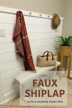 DIY Faux Shiplap Wall with Hooks Wooden Projects, Easy Diy Projects, Furniture Projects, Painting Baseboards, Easy Backsplash, Faux Shiplap, Home Upgrades, Ship Lap Walls, Painted Floors