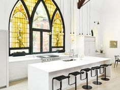 I love converted churches! Inside a Stunning Church-Turned–Family Abode: Making a strong case for stained-glass windows. via @mydomaine