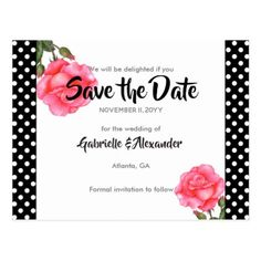 Watercolor Pink Rose Floral Wedding Save The Date Postcard - flowers floral flower design unique style
