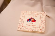Perfect visual of wedding programs. Small, fold out, and colorful elephants. Engagement Invitation Cards, Indian Wedding Invitation Cards, Indian Wedding Cards, Indian Wedding Decorations, Card Box Wedding, Wedding Card Design, Wedding Bells, Invitation Card Design, Wedding Invitation Design