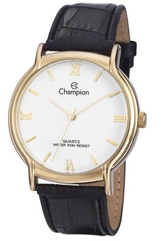 Champion CN20006B Men's Watch Classic White Dial With Gold-Tone Stainless Steel Case