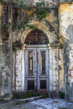 door, doorway, Church, derelict, old, aged, ruin, ruined, arch, panels, Cyprus, Northern Cyprus, Cypriot
