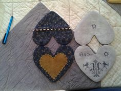 Love the heart in heart design! - - - Heart needlebooks. Threadwork Primitives