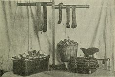 Fig. 4.—1. Skein parting and dressing pole. 2. Roll, and skein, of yarn.3. Scale for weighing yarn. 4. Bundle of dyed silk yarn. 5. Millbask...