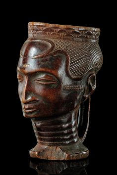 Africa | Anthropomorphic cup from the Kuba people of DR Congo | Wood
