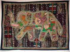 HANDMADE ELEPHANT BOHEMIAN PATCHWORK WALL HANGING EMBROIDERED TAPESTRY INDIA E80…