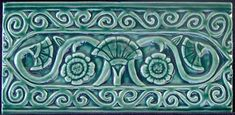 6x3 floral scroll border tile single color. Available in many colors  6x3 $16