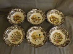 6 royal worcester palissy game series bowls