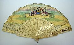Fan Date: century Culture: French Medium: paper Antique Fans, Vintage Fans, Vintage Shops, Painted Fan, Hand Painted, Hand Held Fan, Hand Fans, Red Cherry Blossom, French Silk