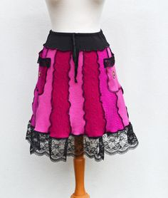 AnjaJasminOriginals. Upcycled Clothing Hot Pink and Black Lace Women Extra Small/Small Wool Sweater A-Line Skirt Fuchsia Pockets & Elastic Waistband Goth Lolita
