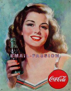 Coca Cola Coke Brunette Beauty Retro Vintage Tin Sign *** Find out more about the great product at the image link. Propaganda Coca Cola, Coca Cola Poster, Coca Cola Ad, Always Coca Cola, World Of Coca Cola, Pepsi, Coca Cola Vintage, Vintage Signs, Vintage Ads