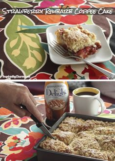 Perfect for a Valentine's Brunch & to bring to the office -- Strawberry Rhubarb Coffee Cake