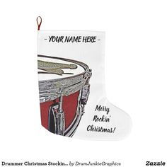 Drummer Christmas Stocking Holiday Snare Drum