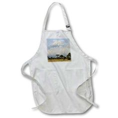 3dRose Africas Mount Kilimanjaro, Full Length Apron, 22 by 30-inch, White, With Pockets