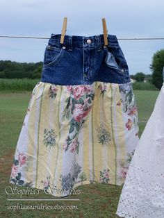 Skirts from up cycled jeans and bed sheets.