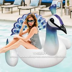 pool float on sale at reasonable prices, buy Giant Inflatable Peacock Pool Float 2018 New Peahen Water Toys For Adults Unicorn Ride-on Swimming Board Piscina from mobile site on Aliexpress Now! Giant Pool Floats, Cool Pool Floats, Inflatable Float, Giant Inflatable, Float Pool, Swimming Pool Games, My Pool, Pool Toys, Water Toys