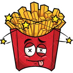 Beaten Up French Fries Emoji: Royalty-free stock vector illustration of a knocked out or punched french-fried potatoes emoji (in a red pack), with its tongue sticking out, seeing stars from the hit it took. Burger Cartoon, Potato Sticks, Fried Potatoes, Smileys, French Fries, Pictures To Draw, Food Truck, Diwali, Picsart