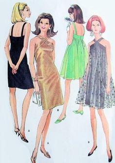 1960s Mod Evening Cocktail Party Dress Pattern McCalls 8996 Vintage Sewing Pattern Fab Slim or Tent Dress Flattering Criss Cross Neckline Bu...