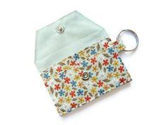 Mini key chain wallet/ simple ID Key chain pouch/ Business card holder/ keychain coin purse / aqua floral pattern