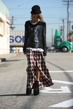 Neo grunge: plaid, ripped jumper. Loose the hat and change the boots please. via Socialbliss