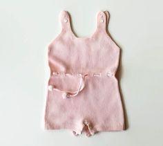 Pagliaccetto lana vintage per bambina senza maniche body di lana rosa 0-3 mesi