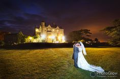 Twilight wedding portrait at Dumbleton hall, Gloucestershire UK. Image by Jonathon Watkins ( www.photoglow.co.uk )