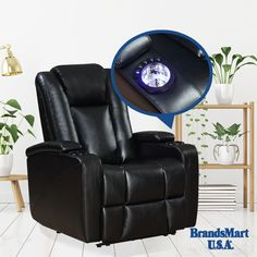 Support at the Touch of a Button  Excalibur Power Recliner - ON SALE  $399.88  Full power control, dual cup holders, hidden storage in each arm. Keep your essentials close at hand. This power recliner's premium features add contemporary comfort to any room.  • Power • Recliner • Sale • Furniture • Living Room • Home • Chair • Luxury • Deals • Support • Comfort
