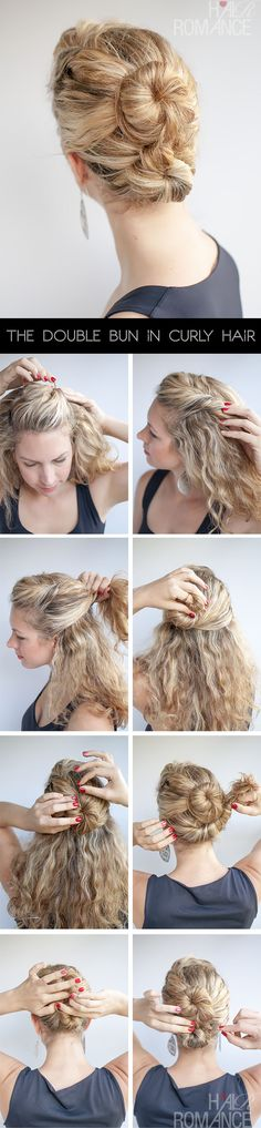 Hair Romance - The Double Bun Hair Tutorial in curly hair http://pinmakeuptips.com/best-hot-curly-hair-styles/
