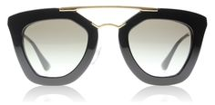 Black and Gold Sunglasses by Prada. Shop these sunglasses by clicking on the picture.