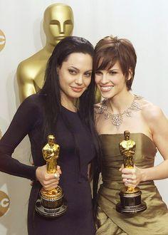 Angelina Jolie and Hilary Swank, 2000 Academy Award Winners, Oscar Winners, Academy Awards, Les Oscars, Glenn Close, Breakfast Club, Uma Thurman, Angelina Jolie, Groomsmen