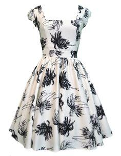 Lady V London White with Black Palm Print Summer Swing Dress