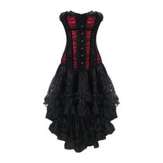 Burvogue Women's Gothic Boned Lace Corsets and Bustiers Dress with... ($14) ❤ liked on Polyvore featuring dresses, bustier corset, corset style dress, gothic corset, corset cocktail dress and corset dress