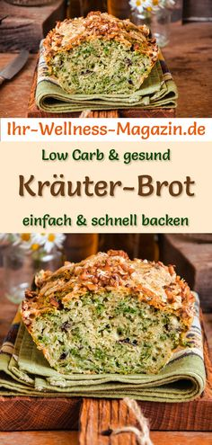 Low Carb Kräuter-Brot - gesundes Rezept zum Brot backen Quick herb bread: Simple low-carb recipe for healthy, protein-rich bread with cream cheese, psyllium husk and almond flour - without yeast Healthy Pasta Recipes, Healthy Meals For Kids, Low Carb Recipes, Baking Recipes, Vegetarian Recipes, Easy Meals, Quick Recipes, Law Carb, Herb Bread