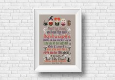 This Hocus Pocus cross stitch quote Winifred, Mary and Sarah Sanderson Sisters together with the unforgettable cat spell! \r\n\r\n This listings is for a virtual pattern that you can print off at home, or view via a computer or tablet. All patterns are