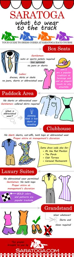 what to wear to Saratoga Race Course - dress codes for different sections of the track