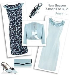 Lace Top Shift Dress And Jacket Pale Blue Wedding Outfits