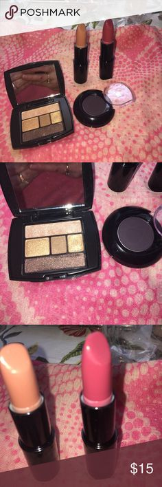 New Lancôme Bundle eyeshadow and lipstick Lipstick in colors Natural Beauty and All done up. Color design eyeshadow palette and matte eyeshadow in successorize. Great to use for smoke eye or eye liner. Lancome Makeup Eyeshadow
