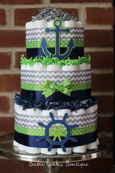 3 Tier Gray Green Navy Nautical Diaper Cake by BabeeCakesBoutique