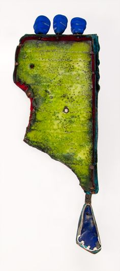 J Pallister,   enamel on copper, felt, glass &  lapis,