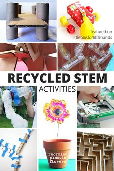 Recycled STEM activities and challenges for kids. Check out the recycling bin and even trash bin for great items to put together recycled STEM challenges. All kids can have the chance to try STEM activities with these recycled STEM challenges. Awesome for Earth Day too. Kindergarten and grade school age kids.