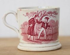 Antique Pottery Mugs | Antique English Pink Lustre Mug, School Play Scenes.