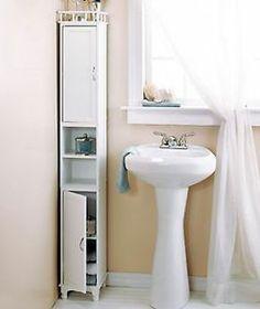 "65"" White Slim Bathroom Towels Storage Cabinet w Shelves Furniture Room Decor | eBay"