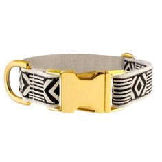 "Out of my Box Black + Cream 1"" Brass Buckle Collar - SeeScoutSleep"