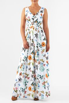 $72.95 Floral butterfly print crepe flows with the angular pleat bodice and knife-pleat skirt of our comfortable, any-occasion dress.