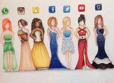 Kjolene har fargene etter de populære appene.