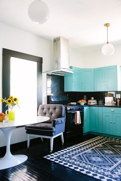 kitchen with turquoise cabinets | Black Lacquer Design