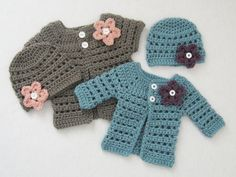 INSTANT DOWNLOAD Crochet Pattern: Mini Miss Cardigan & Beanie (4 sizes included from preemie to 6 months) permission to sell finished items. $4.99, via Etsy.