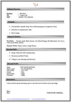 Mca Resume Format For Experience Download  HttpWww