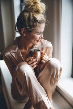 """I am a firm believer that your thoughts and what you're wearing play a big role in how you feel 😉 that being said, I love me some mornings in silky pajamas. My friend set """"glam goals"""" at the beginning of this year – to be more glam (can you tell why we are friends …"""