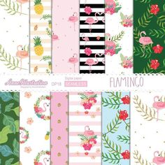 Flamingo Digital PaperSeamlessTropicalGold   Etsy Simple Collage, Craft Shop, Graphic Patterns, Embroidery Files, Collage Sheet, Paper Background, Textures Patterns, Hibiscus, Flamingo